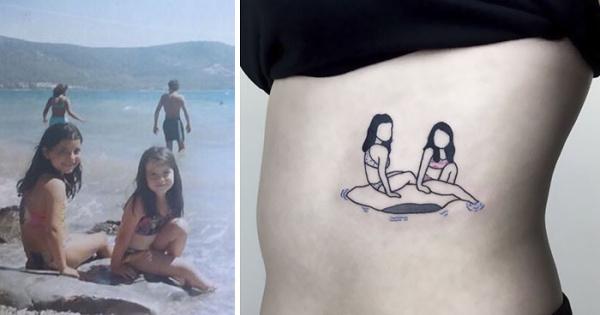 Un artista transforma entrañables fotografías de la infancia en sencillos tatuajes