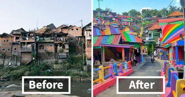 El gobierno indonesio invierte poco más de 20.000 EUR en pintar 232 casas de un suburbio y el resultado es increíble