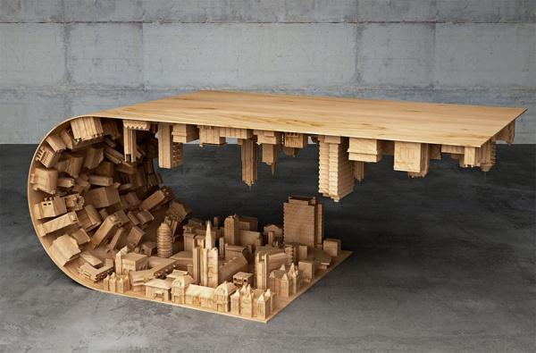 Un diseñador pliega la realidad en una mesa inspirada en Inception