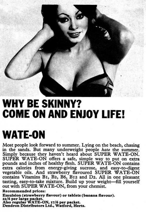 Anuncios vintage animando a las mujeres a ganar peso y curvas