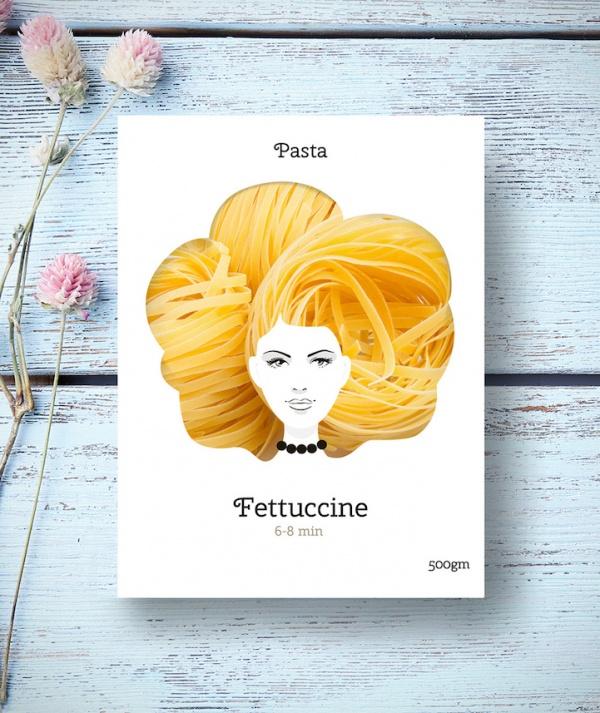 Creativo diseño de paquetes que convierten la pasta en estupendos peinados