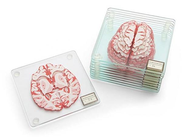 Cerebros tridimensionales con ingeniosos posavasos