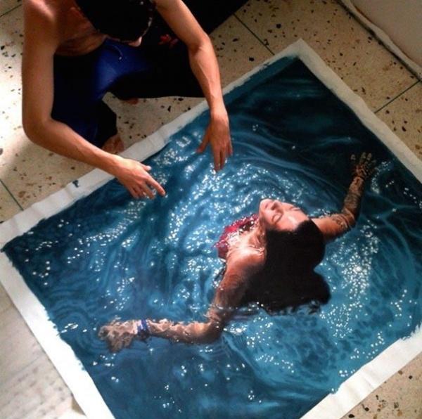 Pinturas hiperrealistas de bañistas