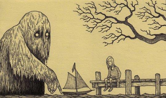 Monstruos aterradores en post-its