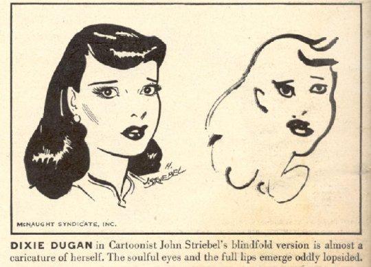 En 1947, se les pidió que dibujaran sus personajes con los ojos vendados