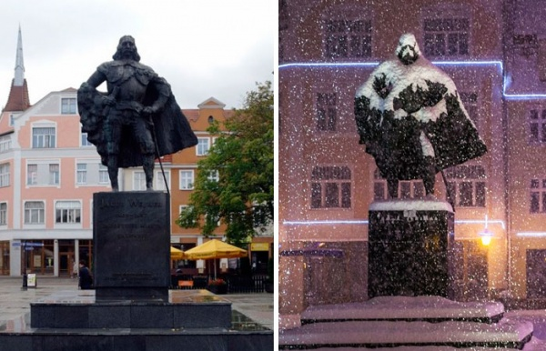 Una estatua polaca parece Darth Vader tras un día de nieve