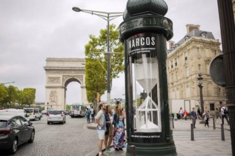 Un reloj gigante de cocaína marcó la cuenta atrás para la temporada de Narcos en Francia