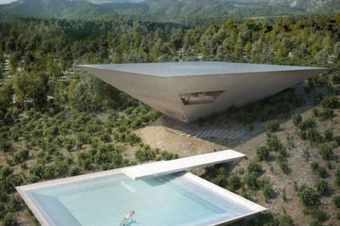 Una casa vanguardista con forma de pirámide invertida para ser construida en Aragón